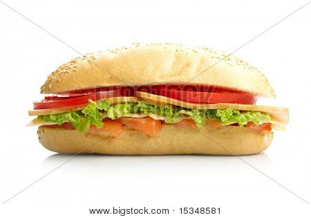Big sandwich on white background