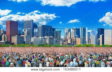 Refugee concept. Crowd of people in front of fence with barbed wire. Behind the fence is a city on the background of blue sky. Concept of liberty. 3d illustration