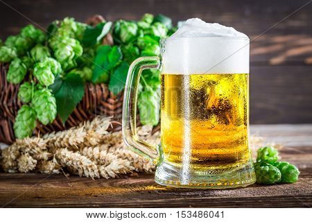 Fresh And Cold Beer With Wheat And Hops