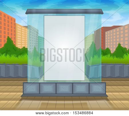 Vector color pattern image for placing advertising posters. Glass mock up against the backdrop of the city and trees. Mock up vector glass city.