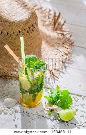 Sweet Mojito With Lemon And Lime In Summer Day