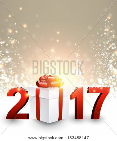 2017 New Year luminous background with gift. Vector illustration.