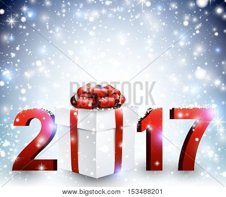 2017 New Year blue luminous background with gift. Vector illustration.