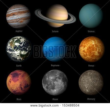 3D render the planets solar system on a black background high resolution Elements of this image furnished by NASA