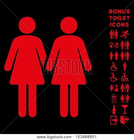 Lesbi Couple icon and bonus man and woman toilet symbols. Vector illustration style is flat iconic symbols, red color, black background.