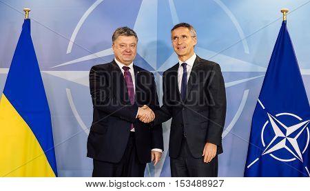Nato Secretary General Jens Stoltenberg And President Of Ukraine Poroshenko