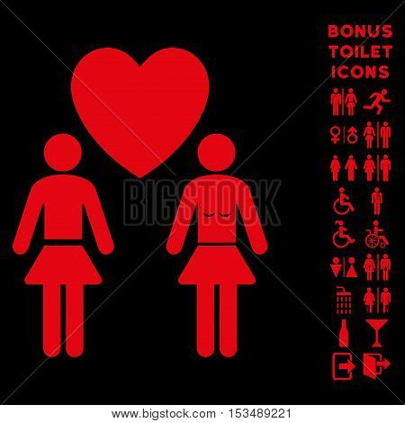 Lesbi Love Pair icon and bonus man and lady lavatory symbols. Vector illustration style is flat iconic symbols, red color, black background.