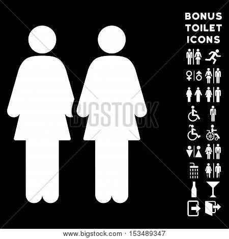 Lesbi Couple icon and bonus man and female toilet symbols. Vector illustration style is flat iconic symbols, white color, black background.