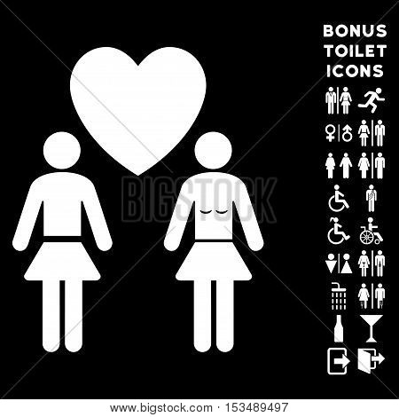 Lesbi Love Pair icon and bonus gentleman and lady WC symbols. Vector illustration style is flat iconic symbols, white color, black background.