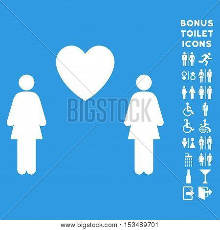 Lesbi Love Pair icon and bonus gentleman and lady restroom symbols. Vector illustration style is flat iconic symbols, white color, blue background.