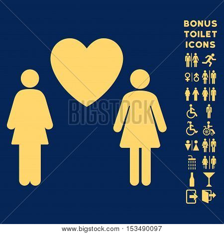 Lesbi Love Pair icon and bonus male and female lavatory symbols. Vector illustration style is flat iconic symbols, yellow color, blue background.