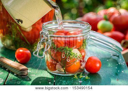 Pickled tomatoes with home grown ingredients in countryside at summer