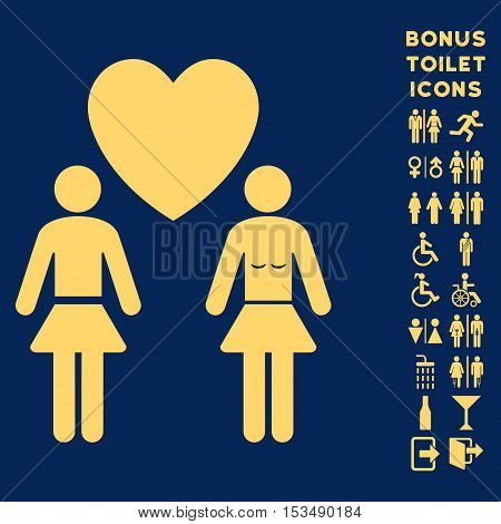 Lesbi Love Pair icon and bonus gentleman and woman lavatory symbols. Vector illustration style is flat iconic symbols, yellow color, blue background.