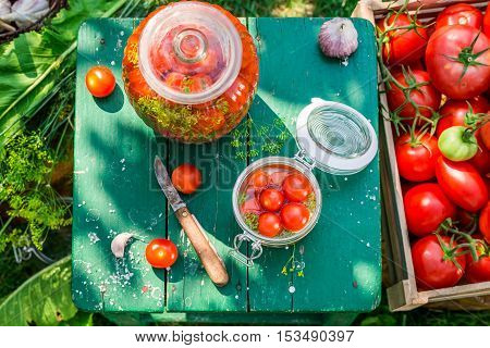 Table Full Of Ingredients For Pickling Tomatoes