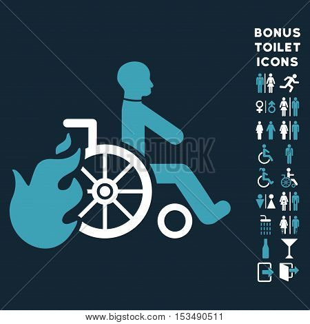 Burn Patient icon and bonus man and female WC symbols. Vector illustration style is flat iconic bicolor symbols, blue and white colors, dark blue background.