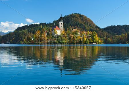 Church of the Assumption in the island of the Lake of Bled (Blejsko jezero), Slovenia