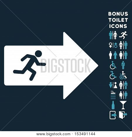 Exit Arrow icon and bonus gentleman and female restroom symbols. Vector illustration style is flat iconic bicolor symbols, blue and white colors, dark blue background.