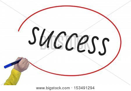 Woman's Hand writing success on white background. Business technology workout internet concept young.
