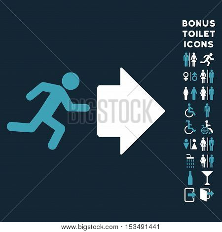 Exit Direction icon and bonus man and woman toilet symbols. Vector illustration style is flat iconic bicolor symbols, blue and white colors, dark blue background.