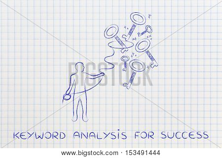 Keywords To Reach Success, Man With Lasso Catching Keys