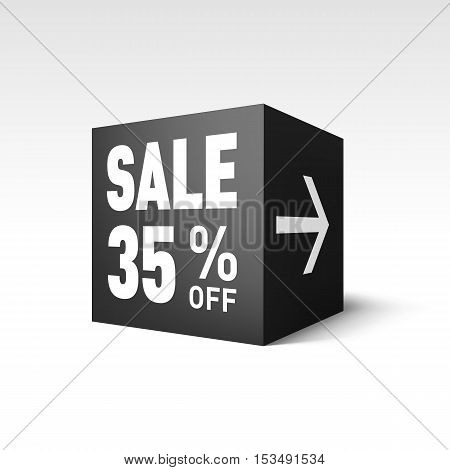 Black Cube Banner Template for Holiday Sale Event. Thirty-five Percent off Discount