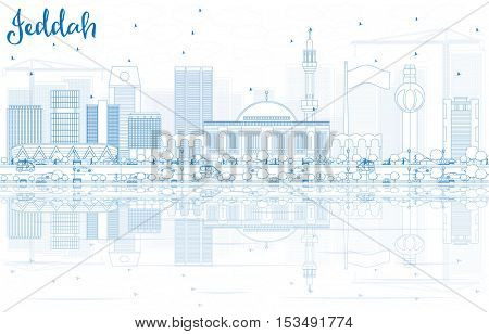 Outline Jeddah Skyline with Blue Buildings and Reflections. Vector Illustration. Business Travel and Tourism Concept with Modern Architecture. Image for Presentation Banner Placard and Web Site.