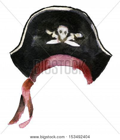 watercolor sketch of pirate hat on white background