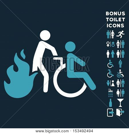 Fire Patient Evacuation icon and bonus man and lady restroom symbols. Vector illustration style is flat iconic bicolor symbols, blue and white colors, dark blue background.