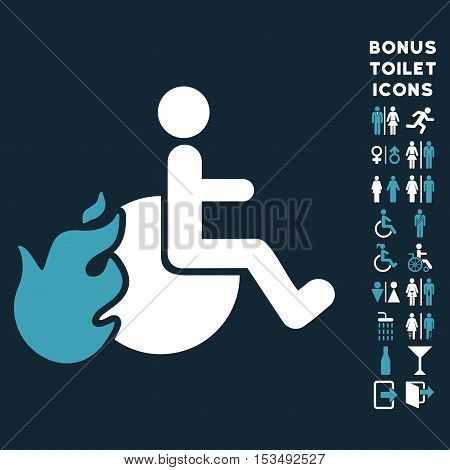 Fired Patient icon and bonus man and lady restroom symbols. Vector illustration style is flat iconic bicolor symbols, blue and white colors, dark blue background.
