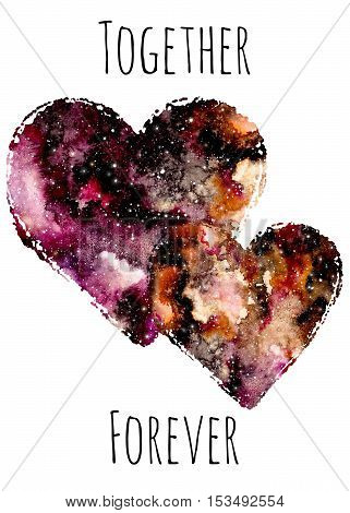 Valentine's Card with Watercolor Hearts and Colorful Nebula - together forever text