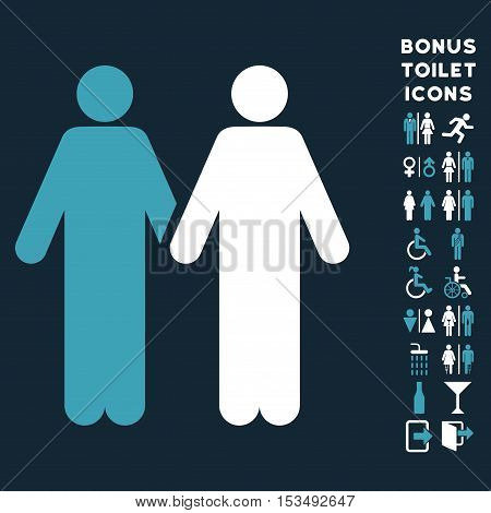Gay Couple icon and bonus gentleman and female toilet symbols. Vector illustration style is flat iconic bicolor symbols, blue and white colors, dark blue background.