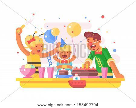 Children birthday party. Dad mom and son with birthday cake. Vector illustration