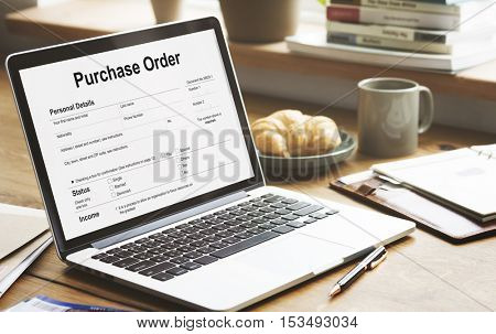 Purchase Order Form Payslip Concept