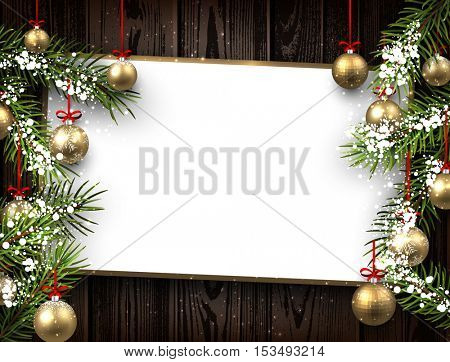 New Year wooden background with golden Christmas balls. Vector illustration.