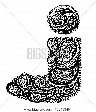 Letter J. Decorative Alphabet with a paisley zen doodle tattoo ornaments filling. Display font and numbers. Hand drawn letters in vintage style. Used for quote lettering.