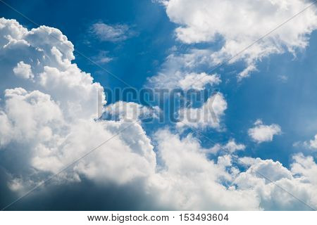 blue sky and white cloud natural background