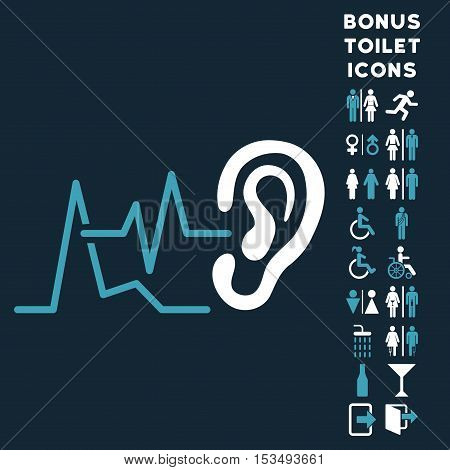 Listen Signals icon and bonus man and woman lavatory symbols. Vector illustration style is flat iconic bicolor symbols, blue and white colors, dark blue background.