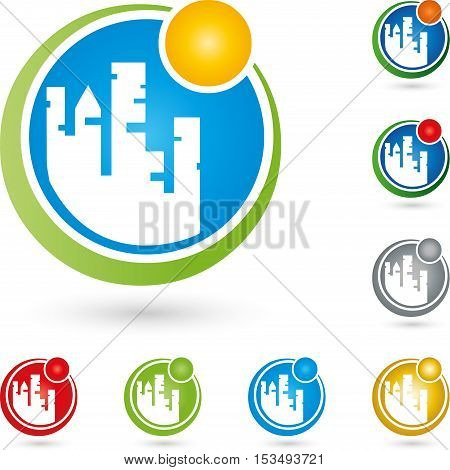 City and sun, real estate agent and real estate logo