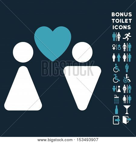 Love Couple icon and bonus male and woman WC symbols. Vector illustration style is flat iconic bicolor symbols, blue and white colors, dark blue background.