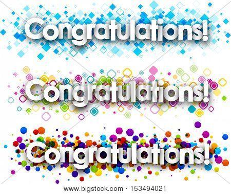 Congratulations colour banners set. Vector paper illustration.