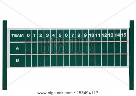 Close up old and dirty green score board tableisolation on white background