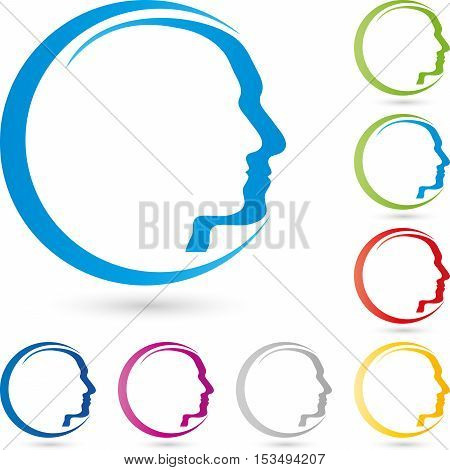 A faces, head, colored, human, person logo