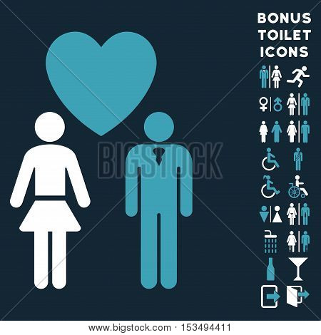 Love Persons icon and bonus male and lady WC symbols. Vector illustration style is flat iconic bicolor symbols, blue and white colors, dark blue background.
