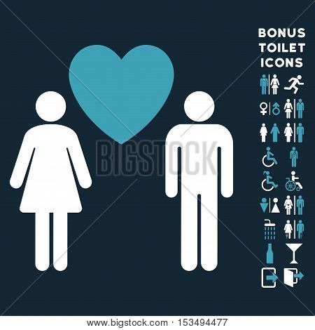 Love Persons icon and bonus male and female lavatory symbols. Vector illustration style is flat iconic bicolor symbols, blue and white colors, dark blue background.