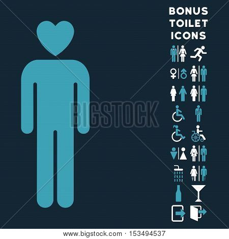Lover Man icon and bonus gentleman and woman toilet symbols. Vector illustration style is flat iconic bicolor symbols, blue and white colors, dark blue background.