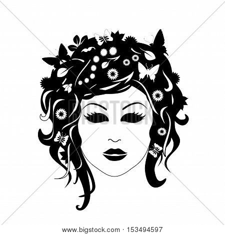 vector silhouette of female head - woman with flowers in her hair