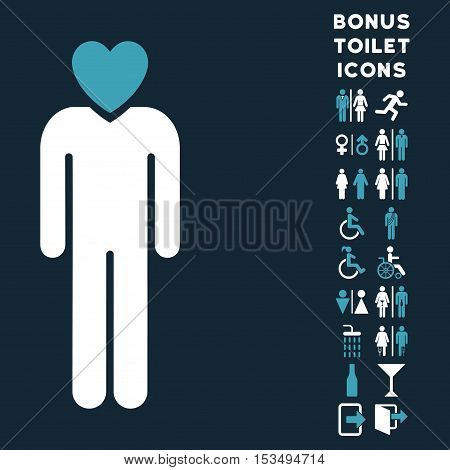 Lover Man icon and bonus male and lady restroom symbols. Vector illustration style is flat iconic bicolor symbols, blue and white colors, dark blue background.