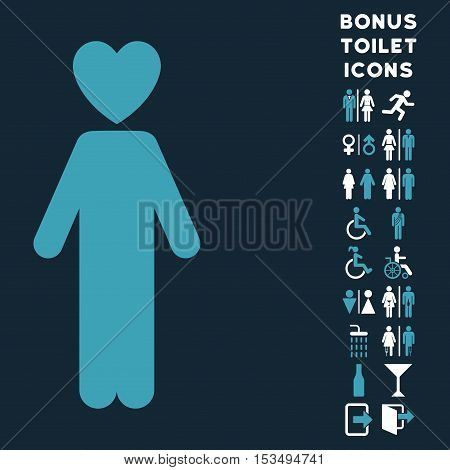 Lover Man icon and bonus man and lady restroom symbols. Vector illustration style is flat iconic bicolor symbols, blue and white colors, dark blue background.