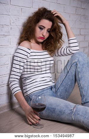 Depression And Alcoholism - Sad Woman Crying And Drinking Wine