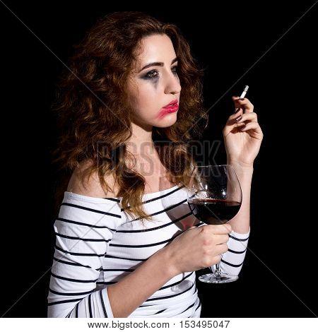 Depression - Crying Sad Woman Drinking Wine And Smoking Isolated On Black